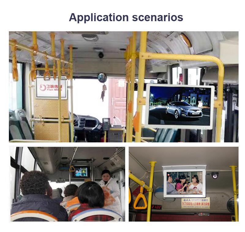 Vehicle bus LCD advertising display monitor